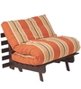Single Futon Sofa cum Bed with Mattress in Rust Lines Colour by ARRA