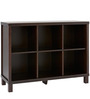 Six Cube Wide Book Shelf in Coffee Brown Colour by Asian Arts