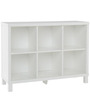 Six Cube Wide Book Shelf in White Colour by Asian Arts