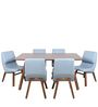 Six Seater Dining Set in Brown & Grey Colour by Parin