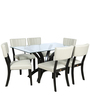 Six Seater Dining Set with Glass Top in Black Colour by Parin