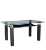 Six Seater Dining Table in Black Colour with Glass Top by Parin