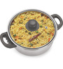 Sizzle Stainless Steel 1500 ML Cook N Serve Kadai With Glass Lid