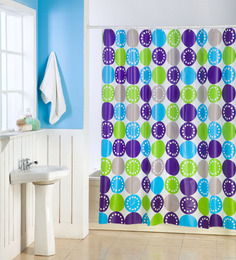 Skipper Blue And Green Pvc 70 X 70 Shower Curtains Set Of 2