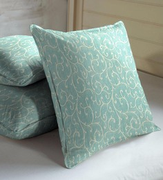 Skipper Blue Viscose & Cotton 16 X 16 Inch Indian Ethnic Cushion Covers - Set Of 3