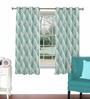 Skipper Aqua Viscose & Polyester 44 x 60 Inch Eyelet Window Curtain (Model No: 090737)