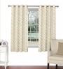 Skipper Beige Viscose & Polyester 44 x 60 Inch Eyelet Window Curtain (Model No: 090608)