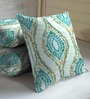 Skipper Blue & Gold Viscose & Polyester 16 x 16 Inch Floral Cushion Covers - Set of 3