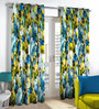 Skipper Blue & Green Polyester Floral Pattern Window Curtain - Set of 2