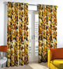 Skipper Brown Polyester Floral Pattern Window Curtain - Set of 2