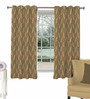 Skipper Brown Viscose Abstract Extra Long Window Curtain
