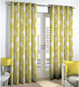 Skipper Lime Polyester & Cotton Floral Window Curtain - Set of 2