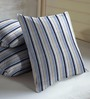 Skipper Navy Blue Polyester & Viscose 16 x 16 Inch Stripe Cushion Covers - Set of 3