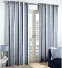 Skipper Navy Blue Cotton & Polyester Abstract Pattern Window Curtain - Set of 2