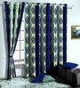 Skipper Blue Poly Cotton Ethnic Window Curtain - Set of 2