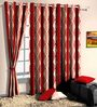 Skipper Red Poly Cotton Ethnic Window Curtain - Set of 2