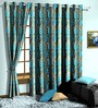 Skipper Blue Poly Cotton Floral Window Curtain - Set of 2