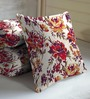 Skipper Purple Viscose & Polyester 16 x 16 Inch Floral Cushion Covers - Set of 3