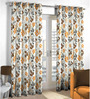 Skipper Rust & Brown Polyester & Cotton Nature & Floral Window Curtain - Set of 2