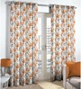 Skipper Rust Polyester & Cotton Nature & Floral Window Curtain - Set of 2