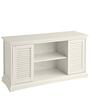 Sliding Door Media Console in White Colour by Asian Arts
