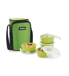 Smart Lock Airtight Tiffin Box With Insulated Bag Melamine Green Set Of 4