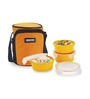 Smart Lock Airtight Tiffin Box With Insulated Bag Melamine Yellow Set of 3