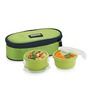 Smart Lock  Airtight Tiffin Box With Insulated Bag Melamine Green Set Of 2
