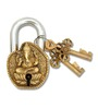 SmartShophar Brass Door Padlock With Ganesha Face 4 Inches Gold