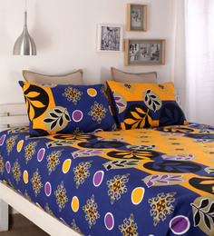 Snuggles Yellow Cotton Queen Size Bed Sheets - Set Of 3