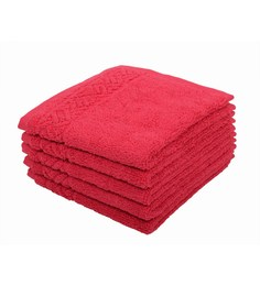 Softweave Pink 100% Cotton 12 X12 Face Towel - Set Of 5