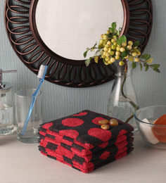 Softweave Red Cotton 12 X 12 Inch Face Towel - Set Of 5 - 1503142