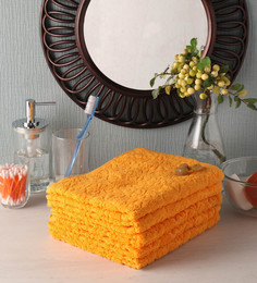 Softweave Yellow Cotton 28 X 16 Inch Face Towel - Set Of 5