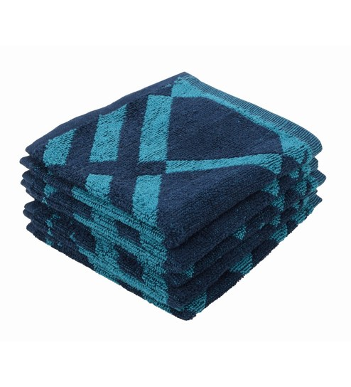 Softweave Multicolour 100% Cotton 12 X12 Face Towel - Set Of 5 - 1590701