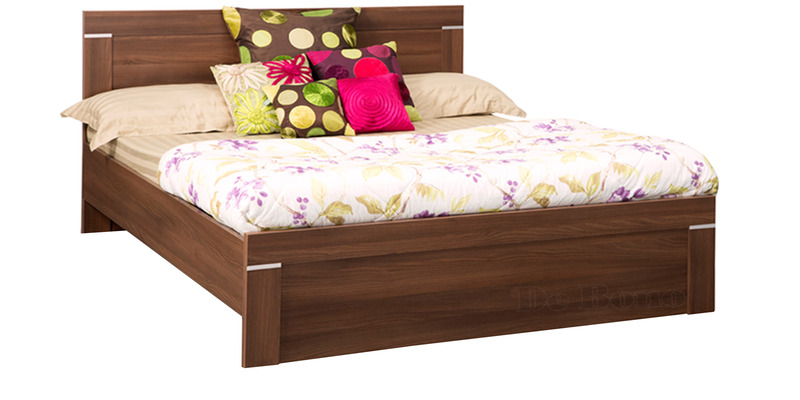 Solitaire King Bed without Box Storage in Acacia Dark Matt Finish by Debono