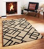 Sofiabrands Beige & Black Wool Striped & Checkered Tufted Carpet