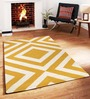 Sofiabrands Yellow Wool Striped & Checkered Tufted Carpet