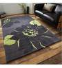 Sofiabrands Black And Green Woolen Floral Hand Tufted Carpet