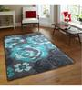 Sofiabrands Dark Grey And Sky Blue Wool Floral Hand Tufted Carpet