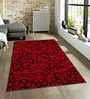 Sofiabrands Red Viscose Abstract Carpet