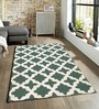Sofiabrands Green Viscose Striped & Checkered Carpet