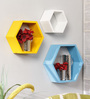 Sofronio Contemporary Wall Shelves Set of 3 in Multicolor by CasaCraft