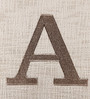 Solaj Off White Cotton 18 x 18 Inch Woven Embroidered A Letter Cushion Cover