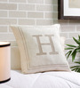 Solaj Off White Cotton 18 x 18 Inch Woven Embroidered H Letter Cushion Cover