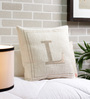 Solaj Off White Cotton 18 x 18 Inch Woven Embroidered L Letter Cushion Cover