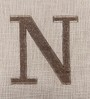 Solaj Off White Cotton 18 x 18 Inch Woven Embroidered N Letter Cushion Cover