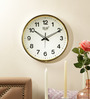 Solar Brown Plastic 12 Inch Round Whitish Wall Clock