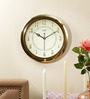 Solar Gold Plastic 11 Inch Round Sweep Wall Clock