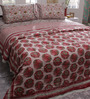 Soma Red & White Nature & Florals Cotton Queen Size Quilt 1 Pc