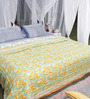 Soma Yellow & White Abstract Cotton King Size Quilt 1 Pc